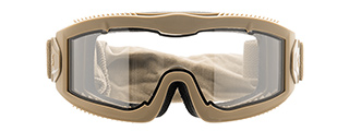 LANCER TACTICAL AERO PROTECTIVE TAN AIRSOFT GOGGLES (CLEAR LENS)