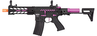 "Lancer Tactical ProLine BATTLE HAWK 7"" PDW Skeleton AEG [HIGH FPS] (BLACK/PURPLE)"