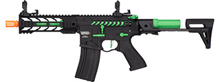 "Lancer Tactical ProLine BATTLE HAWK 7"" PDW Skeleton AEG [HIGH FPS] (BLACK/GREEN)"