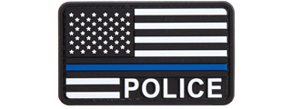 US Flag with Police Blue Line PVC Patch (Color: Black / White / Blue)
